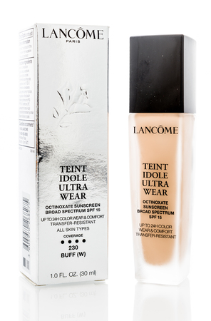 Winneconne, WI - 10 December 2018: A package of Lancome Paris teint idole ultra wear foundation on an isolated background.