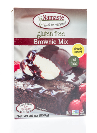 Winneconne, WI - 30 December 2018: A package of Namaste brownie mix that is gluten free on an isolated background.
