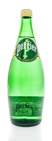 Winneconne, WI - 30 December 2018: A bottle of Perrier water from France on an isolated background.