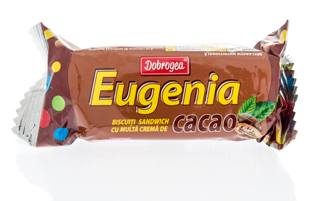 Winneconne, WI - 5 February 2019: A package Dobrogea eugenia chocolate cookies on an isolated background