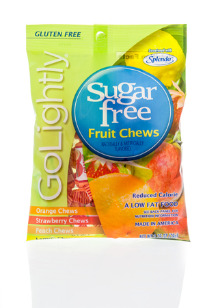 Winneconne, WI - 8 February 2019: A package of Go lightly sugar free fruit chews sweetend with Splenda on an isolated background