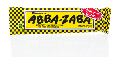 Winneconne, WI - 8 February 2019: A package of Abba-Zaba chewy taffy candy bar on an isolated background