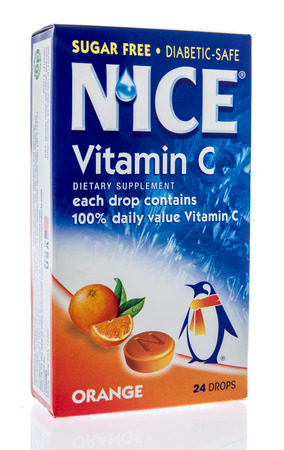 Winneconne, WI - 14 February 2019: A box of Nice vitamin C supplement on an isolated background
