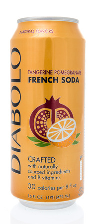 Winneconne, WI - 8 March 2019: A can of Diabolo tangerine pomegranite French Soda on an isolated background Banque d'images - 118528378