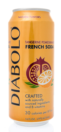 Winneconne, WI - 8 March 2019: A can of Diabolo tangerine pomegranite French Soda on an isolated background Banque d'images - 118528379
