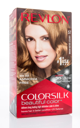 Winneconne, WI - 10 March 2019: A package Revlon color silk hiar color on an isolated background