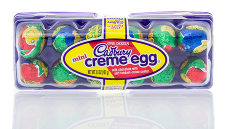Winneconne, WI - 10 March 2019: A package of  mini Cadbury creme egg on an isolated background