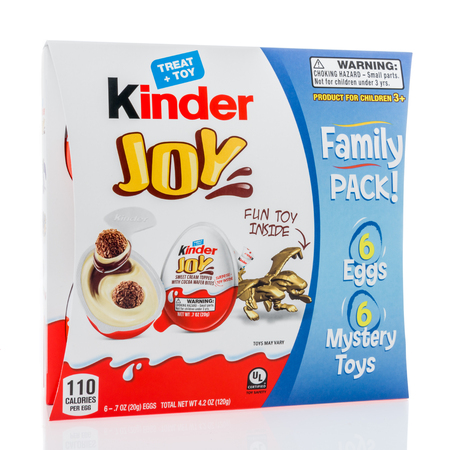 Winneconne, WI - 10 March 2019: A package of Kinder Joy egg treat and toy family pack on an isolated background