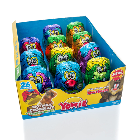 Winneconne, WI - 10 March 2019: A package Yowie chocolate egg with surprise inside on an isolated background Editorial