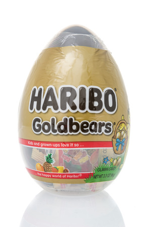 Winneconne, WI - 10 March 2019: A package Haribo Goldbears gummi candy Easter Egg  on an isolated background Editorial