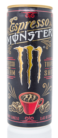 Winneconne, WI - 10 March 2019: A can of Expresso Monster triple shot coffee beverage on an isolated background Editorial