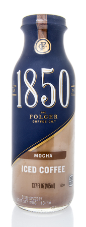 Winneconne, WI - 10 March 2019: A bottle of Iced coffee 1850 Folger coffee beverage on an isolated background