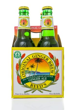 Winneconne, WI - 10 March 2019: A package of Reeds orginal ginger brew all natural Jamaican style ginger ale on an isolated background
