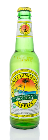 Winneconne, WI - 10 March 2019: A bottle of Reeds orginal ginger brew all natural Jamaican style ginger ale on an isolated background