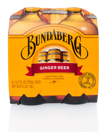 Winneconne, WI - 10 March 2019: A package of  Bundaberg ginger beer on an isolated background