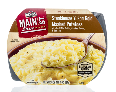 Winneconne, WI - 24 March 2019: A package of  Resers fine food main street bistro steakhouse yukon gold mashed potatoes on an isolated background