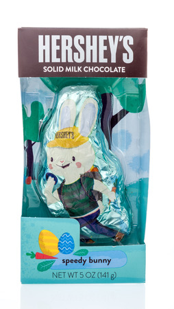 Winneconne, WI - 26 March 2019: A package of  Hersheys solid chocolate speedy bunny on an isolated background