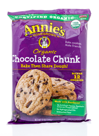 Winneconne, WI - 24 March 2019: A package of  Annies organic chocolate chunk cookie dough on an isolated background