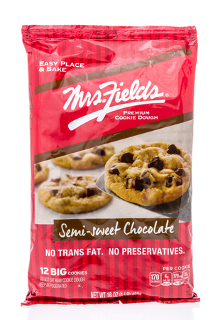 Winneconne, WI - 24 March 2019: A package of  Mrs Fields chocolate chip cookie dough on an isolated background