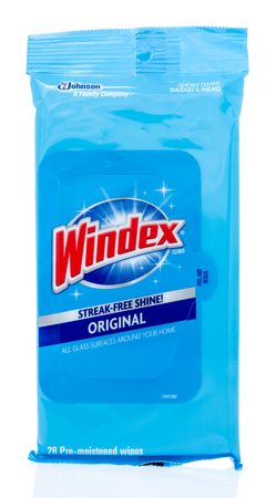 Winneconne, WI - 26 March 2019: A package of  Windex glass surfaces cleaner on an isolated background