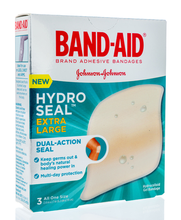 Winneconne, WI - 26 March 2019: A package of  Band-aid brand adhesive bandages hydro seal on an isolated background