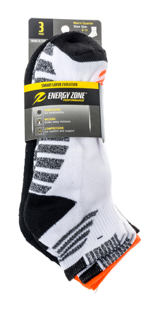 Winneconne, WI - 26 March 2019: A package of  Energy zone performance smart laery evolution socks on an isolated background