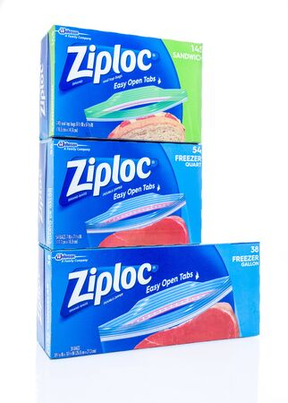 Winneconne, WI - 7 April 2019: A package of Ziploc brand bags double zipper with easy opne tabs in sandiwch quart and gallon size on an isolated background Editorial