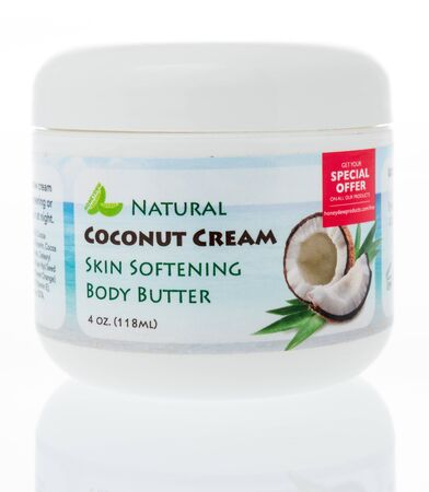 Winneconne, WI -  3 April 2019: A package of Honeydew natural coconut cream skin softening body butter on an isolated background
