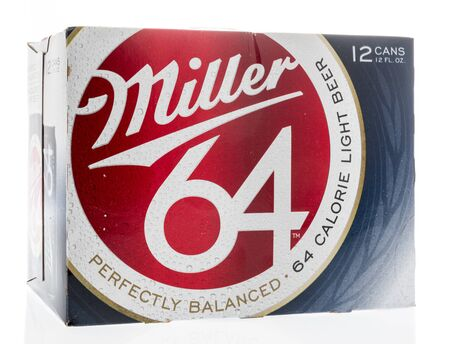 Winneconne, WI - 13 April 2019: A 12 pack of Miller 64 lite beer on an isolated background