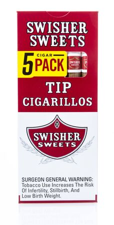 Winneconne, WI -  17 April 2019: A package of Swisher sweets tip cigarillos cigars on an isolated background Editorial