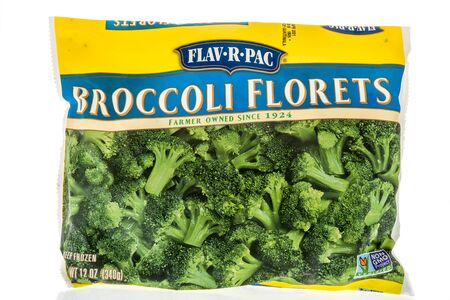 Winneconne, WI - 22 April 2019: A package of flav-r-pac broccoli florets frozen vegetables on an isolated background