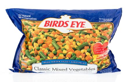Winneconne, WI - 22 April 2019: A package of Birds eye classic mixed frozen vegetables on an isolated background