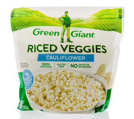 Winneconne, WI - 22 April 2019: A package of Green Giant riced veggies cauliflower frozen vegetables on an isolated background
