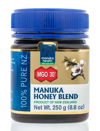 Winneconne, WI - 22 April 2019: A package of Manuka health manuka honey blend on an isolated background