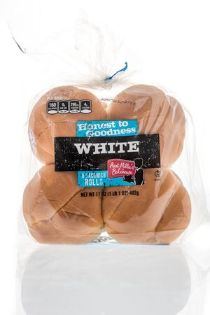 Winneconne, WI - 28 April 2019: A package of Honest to Goodness aunt milliews bakehouse hamburger buns on an isolated background