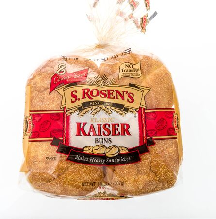 Winneconne, WI - 12 May 2019 : A package of S Rosens klassic Kaiser buns on an isolated background