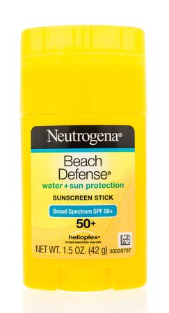 Winneconne, WI - 15 May 2019 : A package of Neutrogena beach defense sunscreen stick on an isolated background