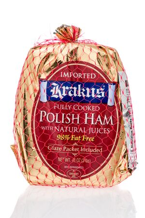 Winneconne, WI - 21 July 2019 : A package of Krakus fully cooked polish ham on an isolated background