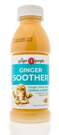 Winneconne, WI - 14 August 2019 : A bottle of The ginger people ginger soother drink on an isolated background Editorial