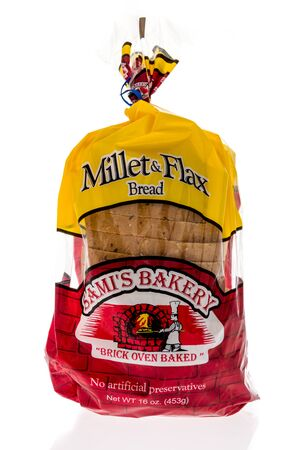 Wnneconne, WI - 4 September 2019:  A package of Samis bakery millet and flax bread loaf on an isolated background.