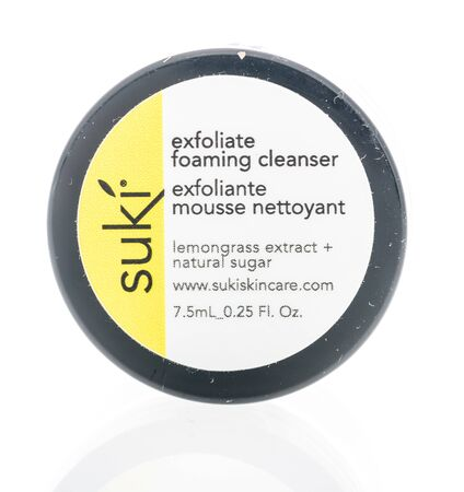 Winneconne, WI - 24 December 2019 : A package of Suki exfoliate foaming cleanser on an isolated background