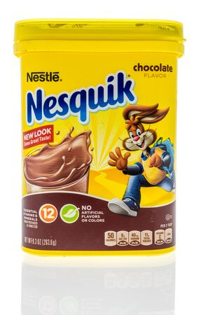 Winneconne, WI - 14 January 2019 : A package of Nestle Nesquik chocolate flavor drink mix on an isolated background