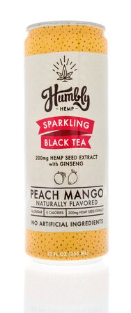 Winneconne, WI - 14 January 2019 : A can of Humbly sparkling black tea with hemp seed extract and ginseng on an isolated background Publikacyjne