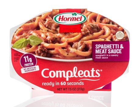 Winneconne, WI - 14 January 2019 : A package of Hormel compleats spaghetti and meat sauce on an isolated background