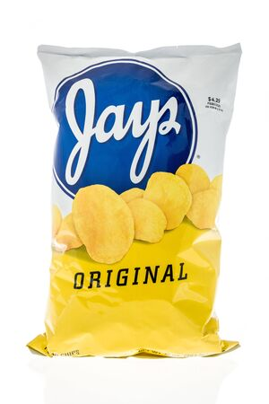 Winneconne, WI - 14 January 2019 : A package of Jays potato chips on an isolated background