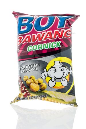 Winneconne, WI - 14 January 2019 : A package of Boy Bawang bbq chips on an isolated background 報道画像