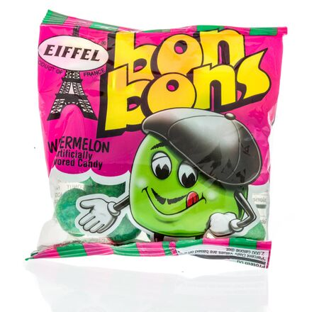 Winneconne, WI - 14 January 2019 : A package of Eiffel bon bons candy snack on an isolated background 報道画像