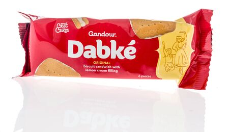 Winneconne, WI - 14 January 2019 : A package of Gandour dabke cookies snack on an isolated background