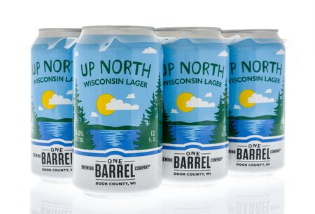 Winneconne, WI - 19 January 2019 : A six pack of Up North Wisconsin lager from One Barrel on an isolated background