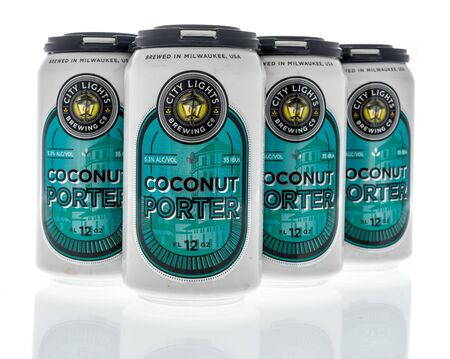 Winneconne, WI - 19 January 2019 : A six pack of Coconut Porter from City lights on an isolated background